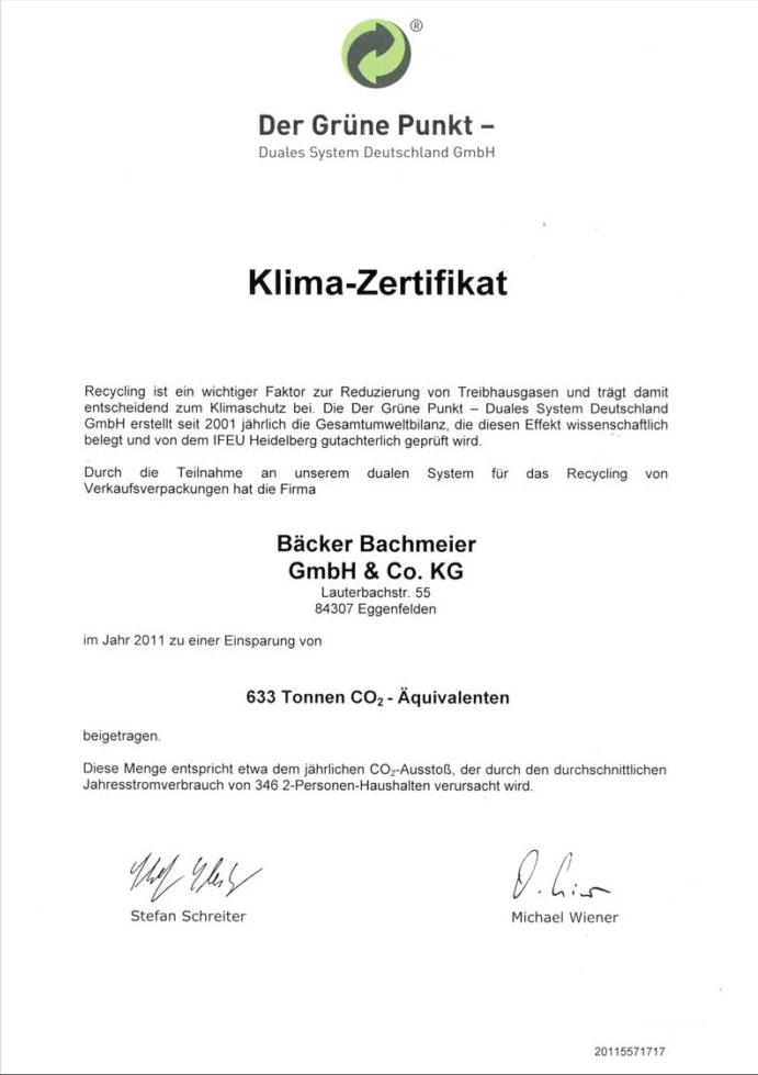 Bäcker Bachmeier Klima Zertifikat